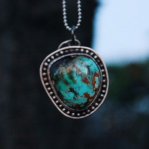 Raw Royston Turquoise and Sterling Silver